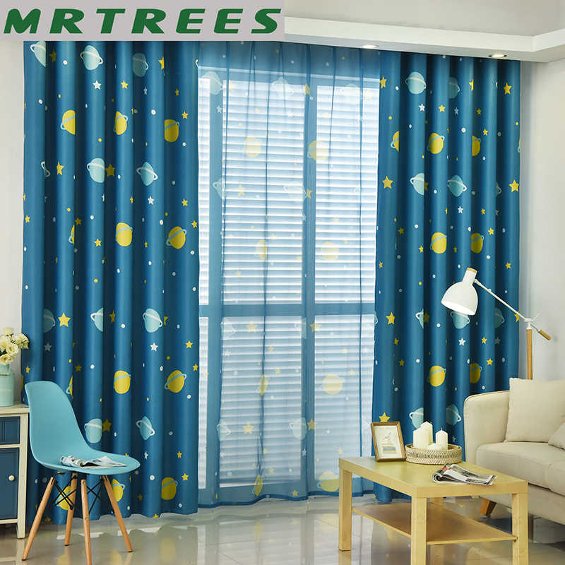 Cartoon Star Printed Curtains and Tulle For Kids Room Children Bedroom Blackout Curtain For Living Room Sheer Curtain Window