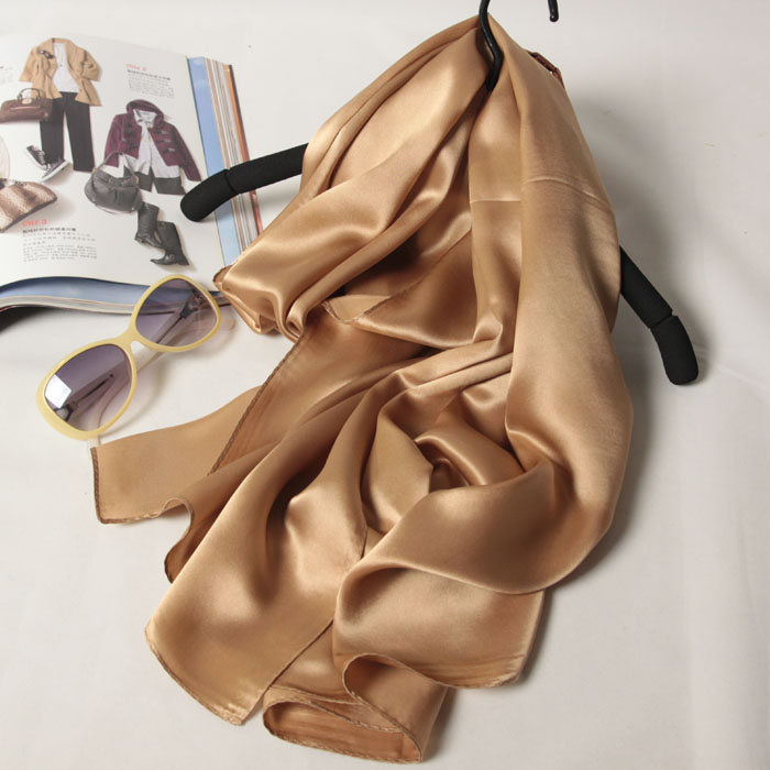 [SLKSCF] 170X55CM TOP Fashion georgette silk satin scarf classic solid color satin silk scarfs plain real silk scarves