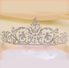 Hot Sale Charm Golden Wedding Bridal Tiara Crown Hair Comb Diadem Heart Queen Rhinestone Party Jewelry Hair Accessories(China)