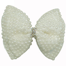 "3PCS/lot 4"" Solid White Pearl Hair Bows With Alligator Clips Boutique Pearl Hair Accessories Rhinestone Ribbon Bow CNHBW-1411191()"