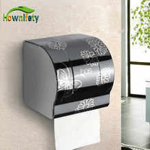 Modern Bathroom Accessories Black Painting Surface Brass Toilet Paper Holder Paper Box Wall Mounted(China)
