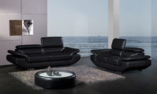 Free Shipping 2013 Modern Design 1 2 3 Black Top Grain Cattle Leather sofa set adjusted headrest Good Leather A228(China)