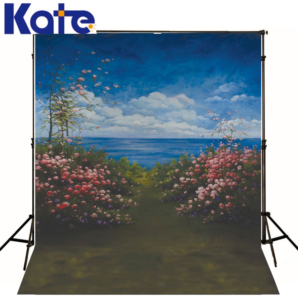 Photography Backdrops Blue Sky White Clouds Photography Background Children Pink Flowers Grass For A Photo Shoot<br>