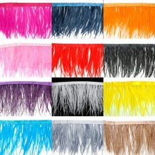 8x10cm 1m/bag Ostrich Feather Fringe Trim for Dress Skirt Birthday Party Masquerade Clothing Home Decoration DIY Craft Making