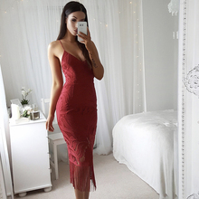 YJSFG HOUSE V Neck Backless Bandage Tassel Slim Long Dress Women Sexy Camisole Lace Dresses Lady High Waist Party White Dress