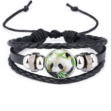 NingXiang Giant Panda Baby Pictures Black Leather Bracelet Multi Layer Lovely Cartoon Animal Glass Cabochon Bangle for Girl Boy(China)