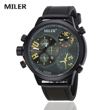 MILER Vintage Punk Style Casual Watch Men Leather Strap Double Movement Calendar Casual Quartz Watch Male Retro Clock Relogio(China)