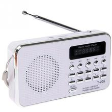 T205 Portable FM Radio MP3 Player Mini Music Speaker Multifunctional Sound Box Support TF/SD Card USB AUX Audio Input(China)