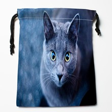 Best Russian Blue Cat Drawstring Bags Custom Storage Printed Receive Bag Compression Type Bags Size 18X22cm Storage Bags