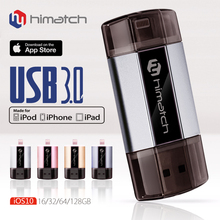 Himatch For iPhone USB 3.0 Flash Drive 64GB PenDrive Lightning Connector External Storage Memory Expansion for iPads Computers