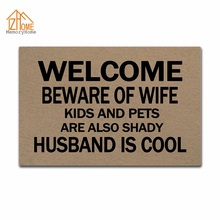 Memory Home Custom Floor Mat Beware Of Wife Kids And Pets Are Also Shady Non-slip Doormat Machine Washable Non-woven Fabric Rug(China)
