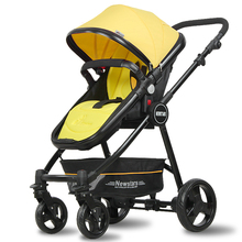 Yellow Special Baby Stroller High Landscape Baby Trolley Baby Buggy Can Sit and Light Free Inflatable Wheel Cart Baby Carriage(China)