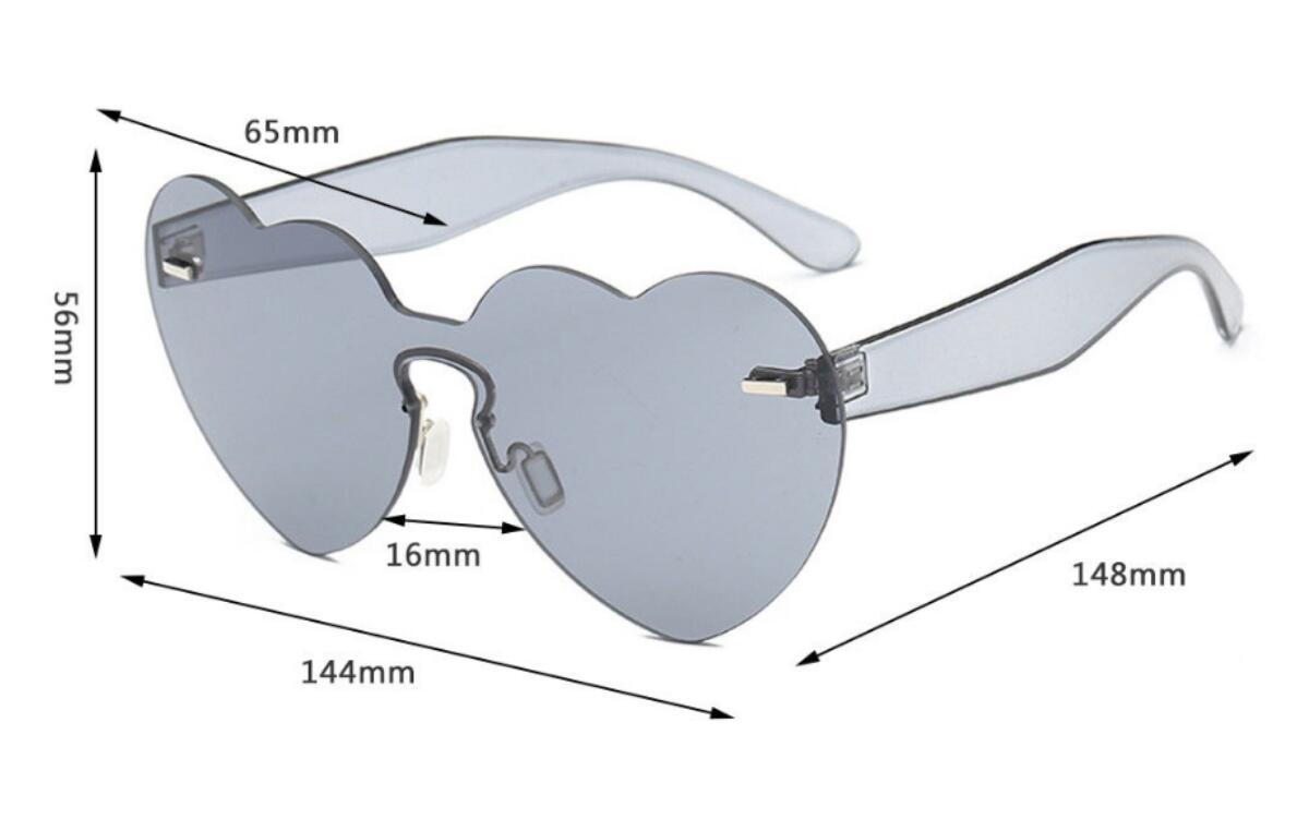 2018 Fashion Love Heart Shape Sunglasses Women Rimless Frame Tint