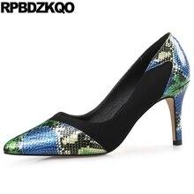3 Inch Snakeskin 2017 Spring Fashion Women Pumps Medium Pointed Toe Stiletto  High Heels 12 44 2cfcc8e50847