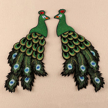 2017 New Patches one pair big size Peacock sequins embroidered patch sew on Motif Appliques Fabric cloth accessory(China)