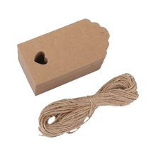 100 pcs Kraft paper Empty card Hand drawing Gift Label Tags Hearts Hollow brown(China)