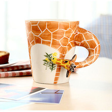Coffee Cup Ceramic Creative Mug Bone China 3D Color Enamel Coffee Animal Shape Hand Painted Giraffe Cow Monkey ELK Cup