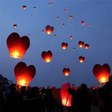 Valentine's Day Wedding Party Decoration Heart Shape 10pcs Chinese Paper Lantern Sky Flying Wishing Lamp Kongming Lanterns Balon(China)