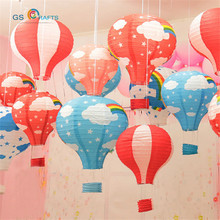 5pcs 12 inch Hanging Wedding Rainbow Hot Air Balloon Paper Lantern Christmas Wedding Party Birthday Decorations Kids Gift Craft