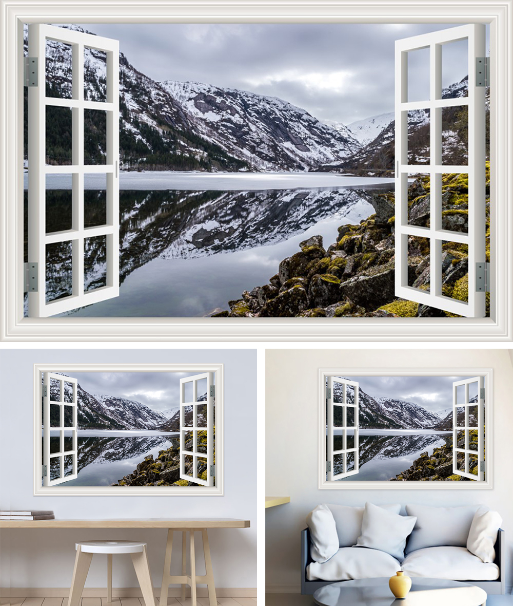 HTB18H6whZnI8KJjSspeq6AwIpXaw - Modern 3D Large Decal Landscape Wall Sticker Snow Mountain Lake Nature Window Frame View For Living Room