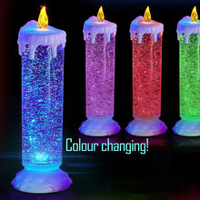 Swirling colour changing LED candle  light up glitter christmas XMAS decoration 24 cm Flickering Water Candle Ornament