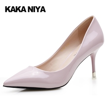 Stiletto Pointed Toe 2017 Autumn Pink Patent Leather 4 34 Small Size Pumps Office 8cm 3 Inch Ladies High Heels Shoes Asakuchi