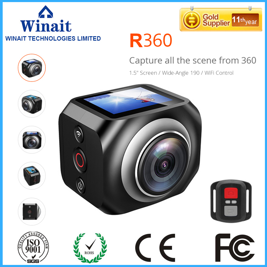 360 Camera Wifi Mini Panoramic Camera Ultra HD Camera 360 Degree Waterproof Sport Driving VR Camera 1440p/30fps with Battery <br><br>Aliexpress