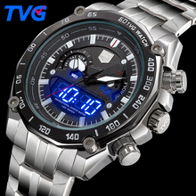 2017 TVG Men's Fashion Sport Watches Men Quartz Digital LED Clock Man Full Steel Military Waterproof Watch Relogio Masculino