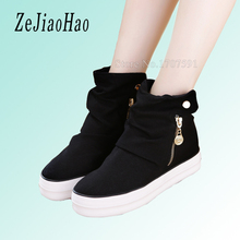2017 Autumn platform designer valentine women casual shoes white canvas brand woman walking shoe high top black sneakers mq01(China)