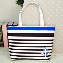 high quality women's handbags made of Canvas with Blue Anchor Pattern Womens Shopping Shoulder Bags Female Handbag Beach bolsa