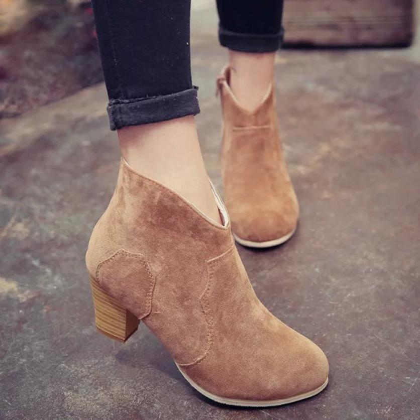 Ladies Women Short Cylinder Boots High Heels Boots Shoes Martin Boots Ankle Boots Best Gift Drop Shipping Dec29<br><br>Aliexpress