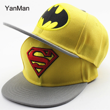 YanMan 2017 Fashion Superman Batman Kids Baseball Cap Fashion Adjustable Boys Girls Snapback Caps Hip Hop Hat gorras casquette