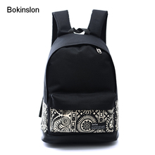 Bokinslon Women Laptop Backpack Fashion National Wind Backpack For lady Practical Canvas Backpack Bags Women