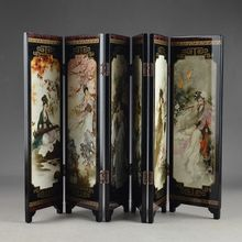 CHINA LACQUER WARE OLD HAND PAINTING BELLE COLLECTIBLES BEAUTY NICE FOLDING SCREEN decoration gift(China)