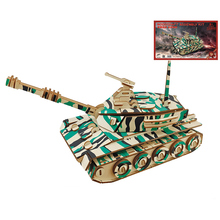DIY Wood Assembling Toys Tank Model Jigsaw Puzzle Wooden Model Of 3D Puzzle Educational Cool Toys for Children Birthday Gift(China)