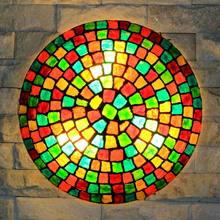 Mosaic Glass Ceiling Light Natural Shell Lamp Mediterranean Kitchen Bathroom Product Living Room Luminaire E27 110-240V