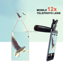 20pcs/lot Universal Clip 12X Telephoto Telescope Lens Optical Zoom Camera Lens for iPhone 6 6+ 5S/Samsung SmartphoneAPL-12XSJ