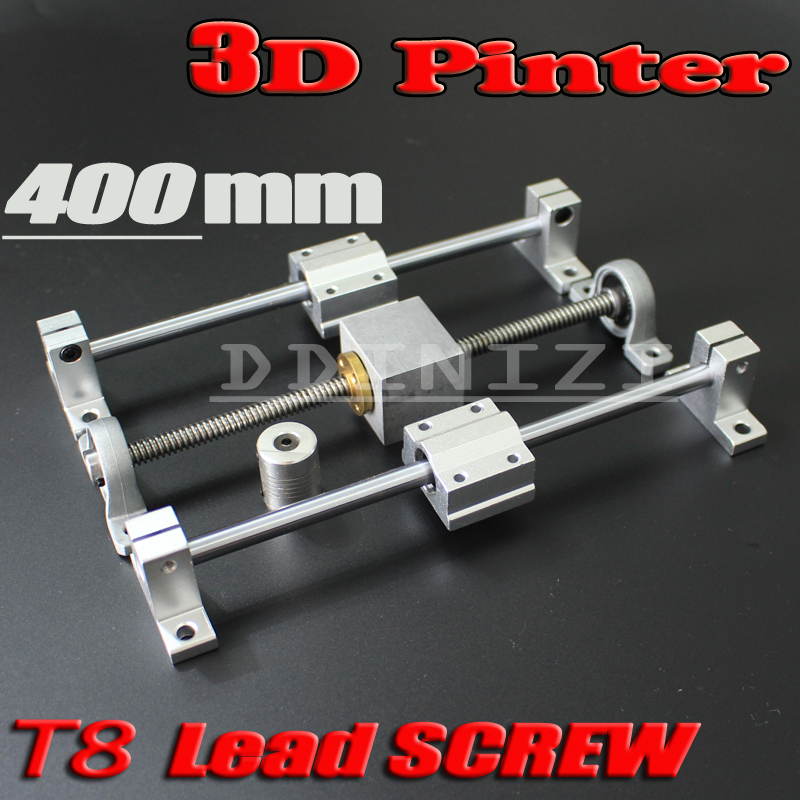 HOT sale 3D Printer guide rail sets T8 Lead screw length 400mm + linear shaft 8*400mm + KP08 SK8 SC8UU+ nut housing +coupling<br>