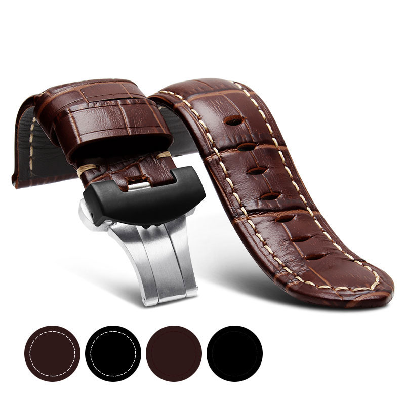 22mm 24mm 26mm  Black Genuine  Leather Watch Strap Band For butterfly  buckle Watchband Strap for Panerai PAM free shipping<br>