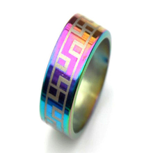 6pcs Wholesale Lots Jewelry resale Arc Rainbow color Stainless Steel Rings(China)