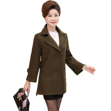 WAEOLSA Middle Age Woman Woolen Blends Coat Army Green Purple Belt Tweed Overcoat Womens Business Casual Outfits Duffle Coat XL