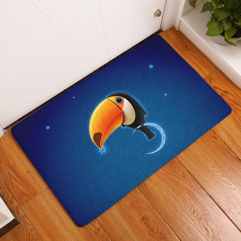 Cartoon Flannel Carpet Angel And Devil Printing Mat For Living Room