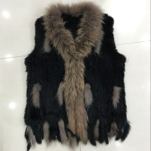 2016 Lady Fashion Genuine Knitting Rabbit Fur Vest Waistcoat Raccoon Fur Collar with Tassels Women Fur Gilet Outerwear VK3124