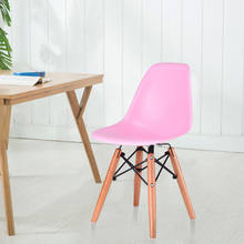 (Ship From US) Giantex Pink Kids Dining Side Armless Chair Molded Plastic  Seat Wood Legs Children Dining Room Furniture HW56499PI