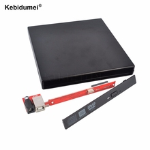 USB 2.0 DVD CD Slim DVD-Rom DVD RW +/- SATA External Case Compatible with USB 1.1 for Laptop Computer for Windows for Mac OS