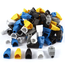 100 Pcs Soft Plastic Ethernet RJ45 Cable Connector Boots Plug Cover Random Color