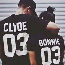 Lovers Women Men BONNIE CLYDE 03 Letter Print T-Shirt Casual Top Couple Shirt 2017 Fashion European Street Style Graphic Tees