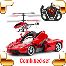 New Arrival World First Combo Car Helicopter LA 1/14 2.4G RC Race Car Drive Pro Luxury Gift For Boys Electric Toy Luxury Present(China)