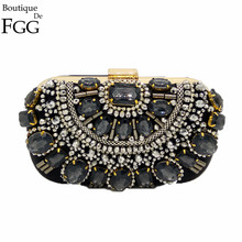 Famous Brand Women Handbags Black Crystal Evening Purse Metal Clutches Silver Beaded Bridal Wedding Box Clutch Bags Bolsos Mujer