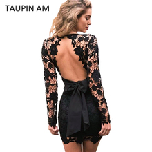 TAUPIN AM Backless lace dress Vintage long sleeve crochet pink flower short party dress Evening designer bodycon black dress